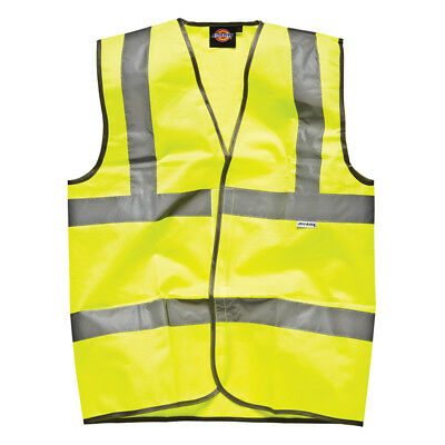 Dickies Highway Safety Waistcoat Hi Vis Yellow Fluorescent Viz Vest (SA22010)