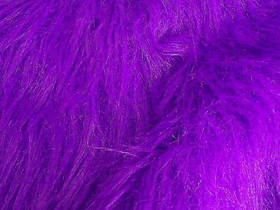 LONG Pile Fun Faux Fur Fabric Material - PURPLE