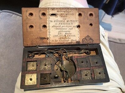 Rare 1780's Prussian Boxed Gold Scale W/ Weights By Abraham Kruse