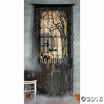 "Spooky Lighted Lace Curtain Panel Prop Halloween NEW Haunted House Decor 40""x7'"