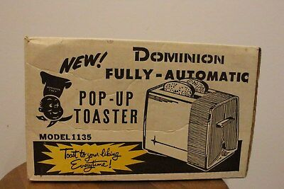 Rare Vintage Dominion Electric Toaster Model 1135 Double 2 Side Box Only