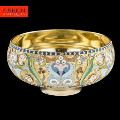 ANTIQUE 20thC RUSSIAN SOLID SILVER & CLOISONNE ENAMEL BOWL, P.OVCHINNIKOV c.1900