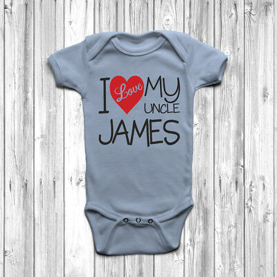 Personalised I Love My Uncle Baby Grow Body Suit Vest Cute Custom Gift Present