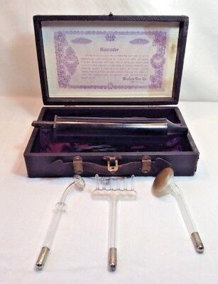 Bleadon-Dun Vi-Rex 1920s(?) Violet-Ray Quack Medical Device~w/ 3 Heads~WORKS!