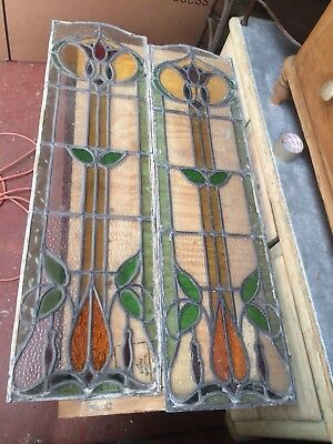 Victorian Stained Glass Panels  127Cm X 35Cm