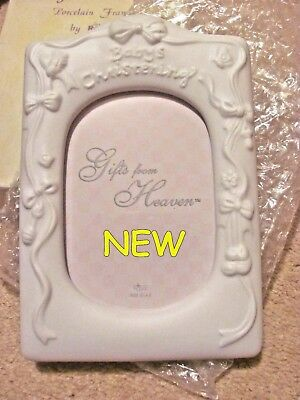 NEW RUSS Collection BABY'S CHRISTENING Ceramic White picture Frame boy girl