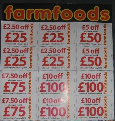 Farmfoods Coupons Vouchers 10% Discount. Worth £75.  Until 28th February  2018