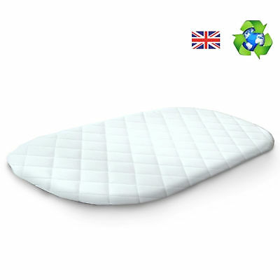 NEW 4BABY FIRM FOAM QUILTED MOSES BASKET BABY SAFETY MATTRESS - 74 x 28 x 3cm