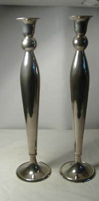 Tall Pair Of Plated Candlesticks. - 13.1/2 Ins.