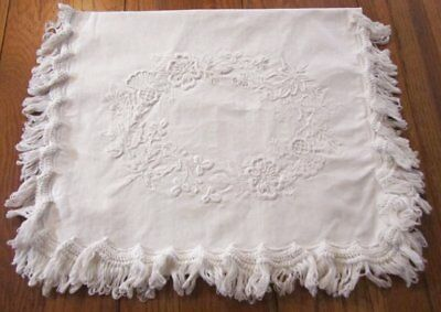 Antique Early Embroidered Padded Work Sewing Linen BAG Philadelphia Fringed