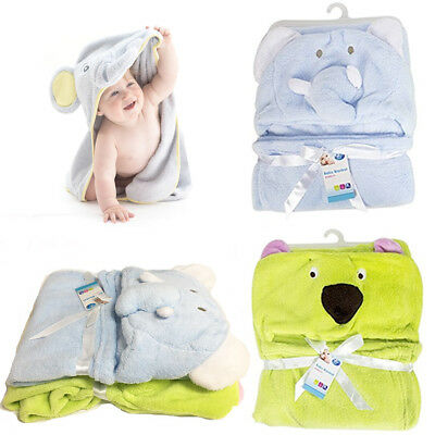 Super-Soft Baby Hooded Blanket Infant Bath Towel Wrap Bathrobe Animal 65x85cm