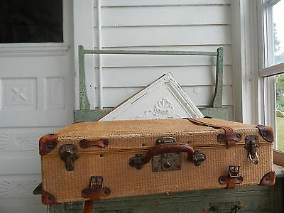 Vintage Antique straw and leather small Suitcase photo prop decor display trunk
