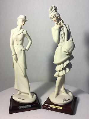 Lot of 2 Giuseppe Armani Figurines Horsewoman 420F & Lady with Muff 408F Italy