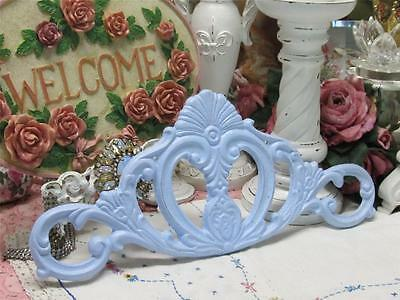 "PASTEL BLUE CAST IRON PEDIMENT~16"" x 7""~Shabby~Cottage~Chic"
