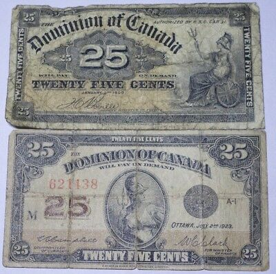 1900 And 1923 Canada 25 Cents Shinplaster Notes (Lot Of Two) No Reserve