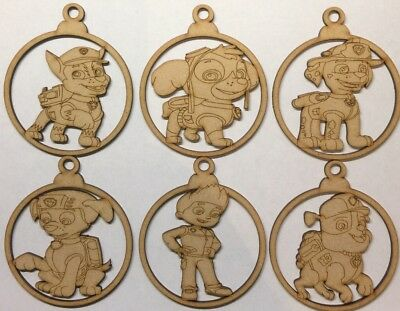 Paw Patrol set baubles christmas tree Characters 3mm thick Mdf Laser Cut Craft