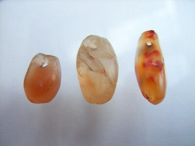 3 Ancient Neolithic Carnelian Amulets, Sahara, Stone Age, VERY RARE!