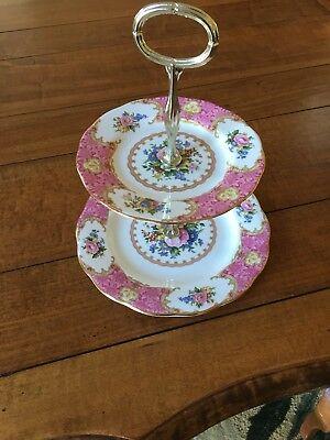 Royal Albert Lady Carlyle 2 Tier Serving Plates Tray Euc