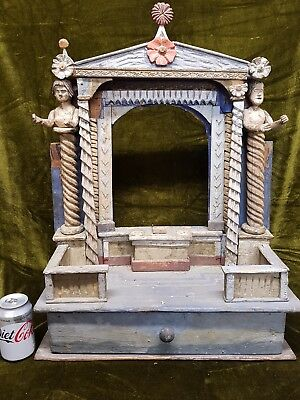 Fabulous antique Childs theatre puppet stage bespoke folk art hand carved wooden