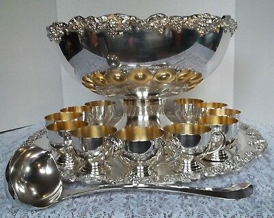 "Towle Silver Plate Grapes 14 Piece Punch Bowl 14.5"" Set Cups Tray 19.5"" Ladle"