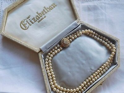 Lovely Vintage 1950s ELIZABETHAN Double Strand Pearl Necklace in box