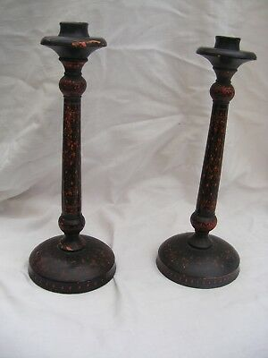 Early wooden candlestick holders possibly Asian in origin or Middle eastern.