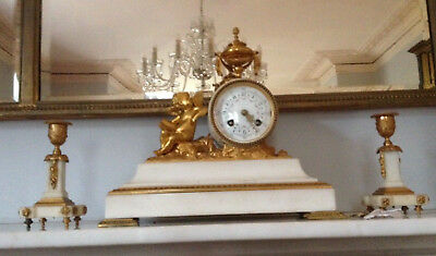 Antique French Neo-Classical Ormolu Marble Clock With Garniture
