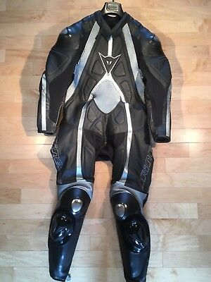 Dainese T-Age One Piece Leather Racing Suit w/ Aerodynamic hump, Size 48, Men's