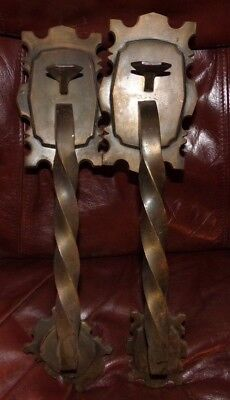 2 Large Twisted Brass Door Handle Push Pull Guard Vintage Hardware
