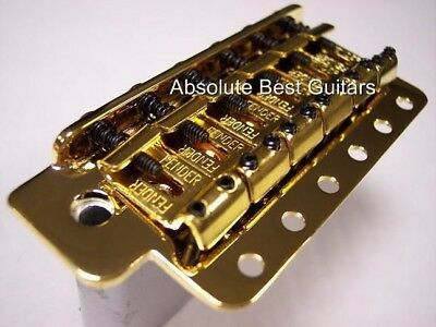 Genuine Fender Big Block Gold Stratocaster Tremolo Bridge ~ Full Usa Size ~