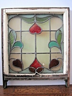 Antique Leaded Stained Glass Hearts Window Wood Sash Architectural Salvage EM