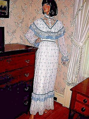 Lovely Vintage 1970 Blue Floral Cotton Polyester  Victorian Style Maxi Dress-7/8