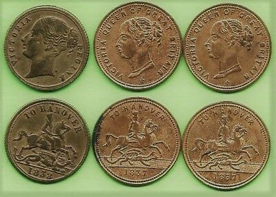 GREAT BRITAIN. Victoria Gambling Chips x 3. To Hanover.1837 x 2 & 1838.