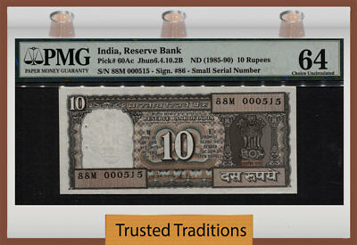 TT PK 60Ac 1985-90 INDIA 10 RUPEES PMG 64 EXOTIC & COOL 3 DIGIT REPEATER 000515!