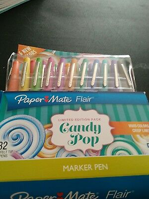Paper Mate Flair Med. Marker pens 32 Ltd. Ed. pack with 6 NEW  Candy Pop Colors