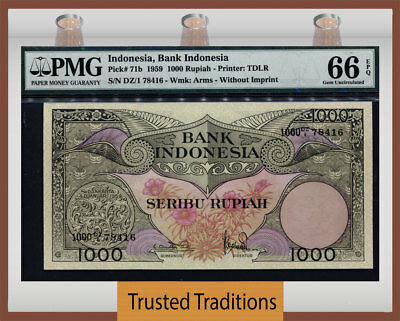 "TT PK 71b 1959 INDONESIA 1,000 RUPIAH ""BIRD OF PARADISE"" PMG 66 EPQ GEM UNC."
