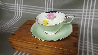 Paragon Mint Green/Inside Flowers Teacup & Saucer Wide Mouth