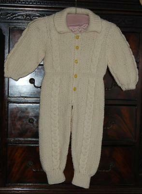 Vintage Cream Wool Hand knitted Toddlers Siren Snow Suit Cable Detail c1950-60s