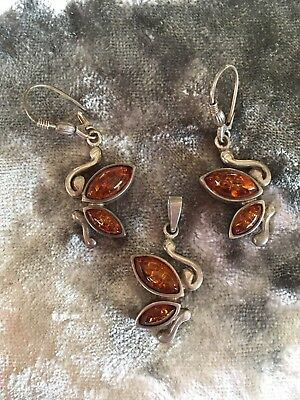 Sterling Silver & Amber Earrings And Pendant