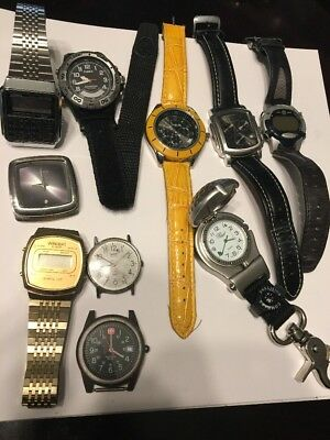 LOT OF 10 VINTAGE MENS WRISTWATCH  PARTS REPAIR TIMEX, Casio, Nixon, Kenneth Col