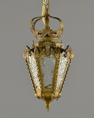 Small Early Electric Brass Lantern c1930 Vintage Antique Gold Ornate Ceiling