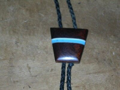 Turquoise and wood? western bolo tie, leather cord, silver ends