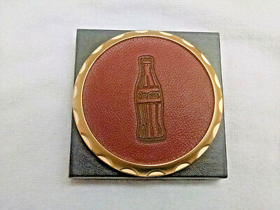 Coca-Cola CLASSY LOOKING coaster, NEW IN BOX-Gold tone metal outer trim.
