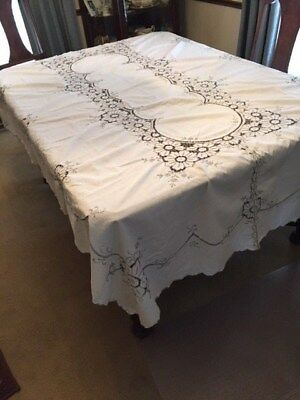 Lovely Art Deco White and Gray Cutwork 62 by 92 tablecloth & 12 matching napkins