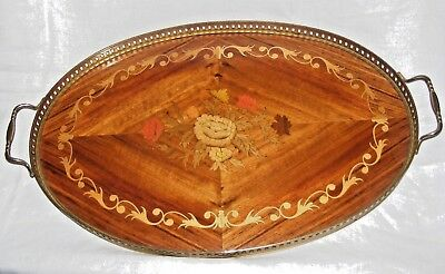 Vintage Sorrento Ware Inlaid Wood Marquetry Tray Gallery Surround