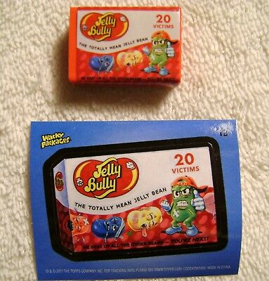 """1.25"""" Wacky Packages Jelly Bully Eraser Sticker Card Topps 2011 Belly Beans"""