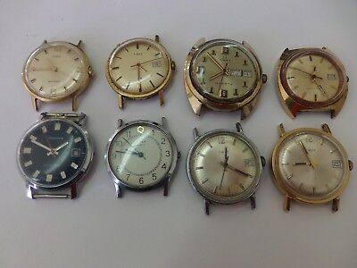 Lot of 8 Vintage Mens Timex, Diantus Manual, Quartz Watches; Non-Running, Repair