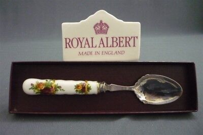 ROYAL ALBERT Old Country Roses Silver Plated Jam / Preserve Spoon Boxed England