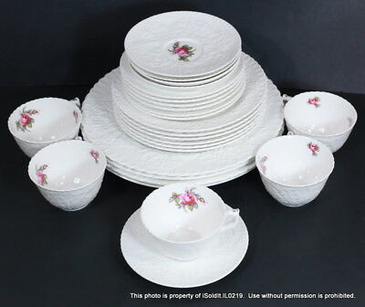 27-PC SPODE BRIDAL ROSE Bone CHINA England 5 Place Settings + Plates Cup Saucer