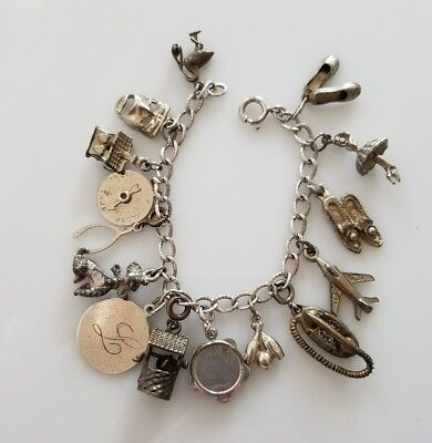 """Vintage 7"""" Sterling Silver Charm Bracelet With 15 Charms, Most Sterling"""